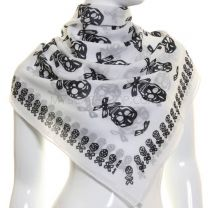 White Skull Print Large Cotton Square Scarf