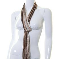 Brown Stripes Belt Scarf with Fringes