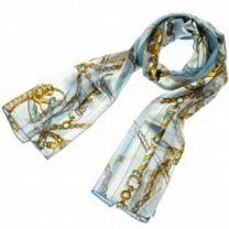 Sky Blue Nautical Chains Satin Stripe Scarf
