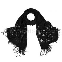 Black Embroidered Flowers Pashmina