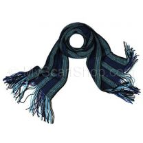 Dark Blue Stripes Wool Winter Scarf