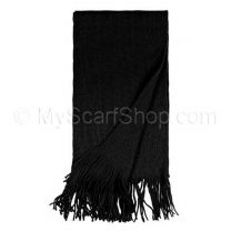 Black Plain Knitted Scarf
