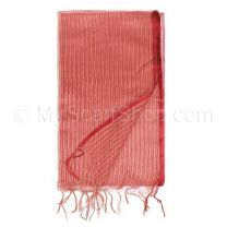 Red and Gold Stripes Sheer Silk Shawl