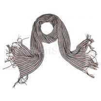 Pink Grey Stripes Wool Scarf