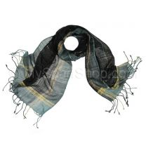 Black and Grey Lurex Checkered Pashmina
