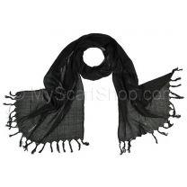 Black Lurex Stripes Cotton Pashmina