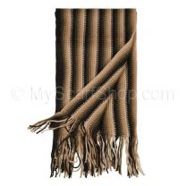 Brown Striped Knit Scarf