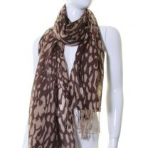 Chocolate Animal Print Cashmere Pashmina