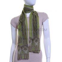 Lime Green Paisley Print Silk Chiffon Scarf