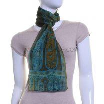 Khaki Paisley Sheer Silk Chiffon Scarf
