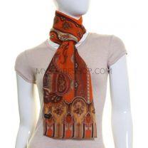 Orange Paisley Print Silk Chiffon Scarf