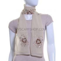 Cream Flower Sequin Georgette Scarf