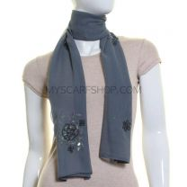 Grey Sequin Georgette Scarf
