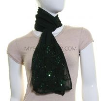 Dark Green Sequin Georgette Scarf
