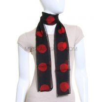 Black & Red Large Polka Dot Chiffon Scarf
