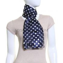 Navy Polka Dot Satin Stripe Scarf