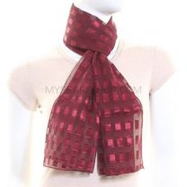 Burgundy Rectangles Chiffon Scarf