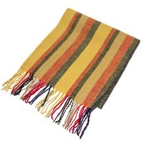 Earth Yellow Stripes Wool Mix Winter Scarf