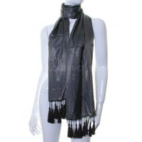 Dark Grey Fine Stripes Silky Pashmina