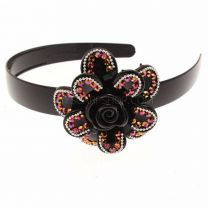 Black Alice Band With Crystal Flower