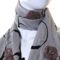 Grey Cotton Flower Embroidered Scarf
