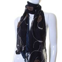 Navy Cotton Flower Embroidered Scarf