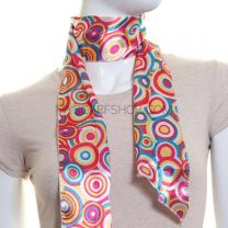 Fuchsia Retro Circle Print Satin 3in1 Scarf