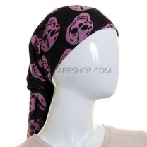 Pink Skull Print Large Cotton Square Scarf