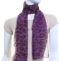 Purple Abstract Animal Print Chiffon Scarf