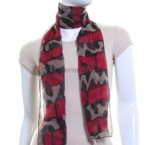Red Inca Print Chiffon Neck Scarf