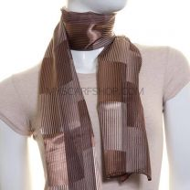 Brown Fine Stripes Satin Scarf