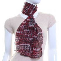 Red Chiffon Scarf (Abstract Dots)