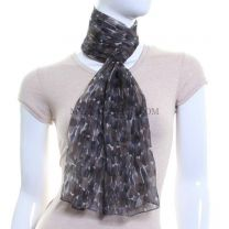 Abstract Painted Dots Chiffon Scarf (Grey)