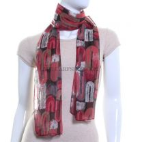 Red Abstract Ovals Printed Chiffon Scarf