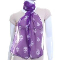 Purple Skulls Chiffon Neck Scarf