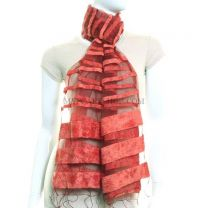 Striped Sheer Silk Shawl (Salmon)