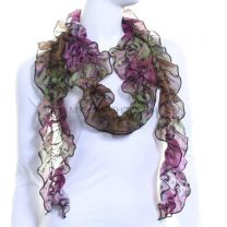 Green Animal Print Ruffle Scarf