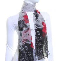 Spot & Floral Print Chiffon Scarf (Grey)