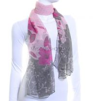 Spot & Floral Print Chiffon Scarf (Pink)