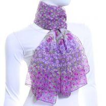 Purple Chiffon Scarf (Poppy Print)