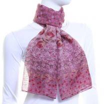 Pink Chiffon Scarf (Poppy Print)