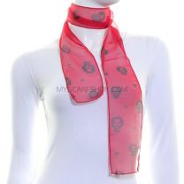 Red Slim Chiffon Scarf (Skulls & Hearts)