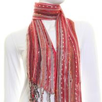 Red Metallic Striped Scarf
