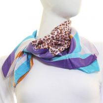 Purple Abstract Leopard Square Satin Scarf