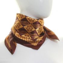 Brown Paisley Square Satin Neck Scarf