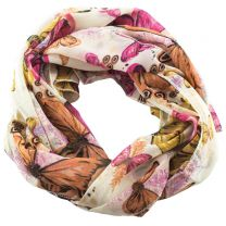 Elegant Butterfly Design Cream Shiffon Scarf