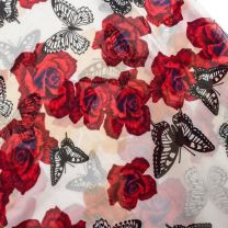 Rose & Butterfly Design Cream Chiffon Scarf