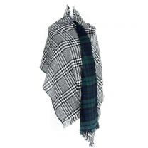 Green Checkered Reversible Blanket Scarf