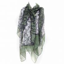 Green Floral Pashmina - Large