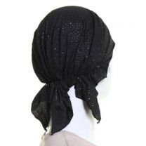 Black Headwrap with Silver Glitter